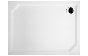 SARA Cultured Marble Shower Tray 100x75x3,5 cm right, white  + feet + panel GP10075L + siphon S-1711C