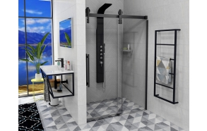VOLCANO BLACK Shower Door 1500 mm, clear glass
