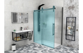 VOLCANO BLACK Shower wall 900 mm, clear glass