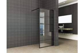 Horizon walk-in shower matt black grid 8mm NANO 900x2000
