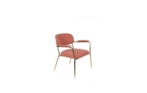 Lounge Chair Jolien Arm Gold/Pink