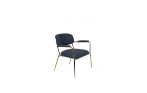 Lounge Chair Jolien Arm Gold/Dark Blue
