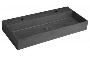 2 segistiavaga betoonist valamu QUADRADO  põhjaklapiga, 96x44 cm, must