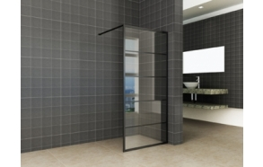 Horizon walk-in shower matt black grid 8mm NANO 1100x2000