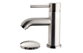 Cadans KIWA basin mixer low brushed steel, incl. click-clack