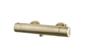 Cool Touch thermostatic shower mixer, brushed brass
