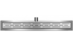 Stainless steel shower drain set with wall flange,  including grid