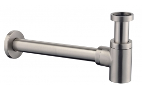 """Star Luxury siphon LOW 1 1/4 """" with wall tube 30cm + rosette, brushed steel"""