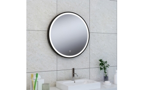 Maro LED mirror 600 mm round, mat black
