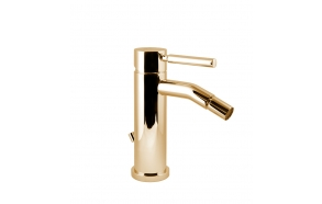 single lever bidet mixer Form A with pop up waste, gold