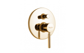 built in shower mixer Form A with diverter, 2 water outlets, gold