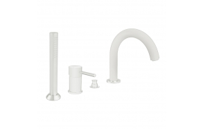 4-holes bath border mixer with diverter and spout, mat white