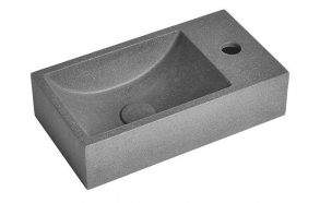 CREST R concrete washbasin including waste, 40x22 cm, black granite
