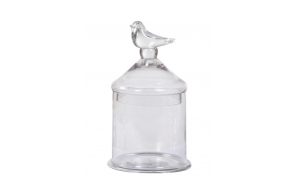 "10-1/2""H Glass Container w/ Lid w/ Bird,"