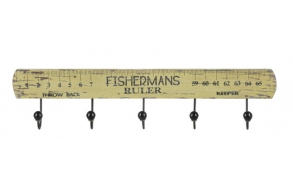 "25""L x 5-1/2""H Wood ""Fisherman's Ruler"" Wall Plaque w/ 5 Hooks"