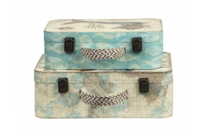 "14-1/2"" & 17""L Wood Suitcases/Trunks, Set of 2"
