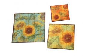 "12"" Square Decorative Trays w/ Sunflowers, Set of 3"