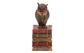 "9-1/2""H Resin Owl Box"