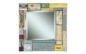 "24""Square x 2-1/8""W Fir & MDF Block Framed Beveled Mirror w/ Embellishments ©"