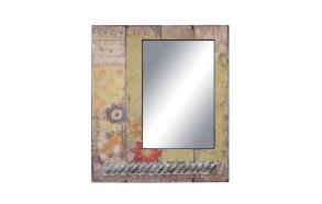 """25""""L x 30""""H Wood Framed Mirror w/ Tin Accent & Floral Print, Mirror Size 13-1/2""""L x 20""""H"""