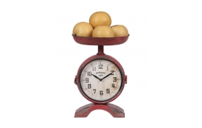 "10""L x 14-1/8""H Metal 2-Sided Scale Shaped Clock, Red, KD"