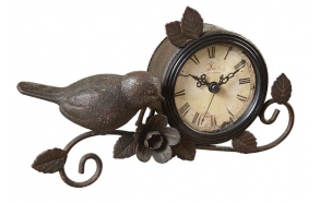 "10""H Metal Mantle Clock w/ Bird & Flower, Rust"