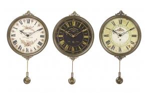 "25""H Wood & Metal Clockw/Pendulum, 3 Styles"