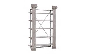 Puidust ja metallist 5-korruseline riiul, mida kaunistavad 2 sammast