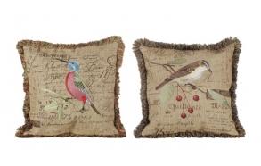 "17-3/4""L  Linen Pillow w/ Embroidery Bird, 2 Styles"