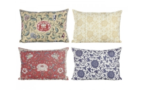 "19""L Fabric Pillow w/ Floral Print, 4 Styles"