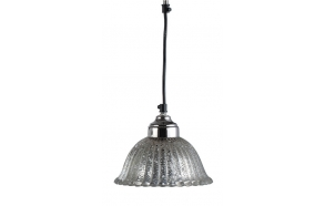 "7"" Round x 6""H Mercury Glass Hanging Lamp, (25 Watt Bulb Maximum, Hard Wire Only)"