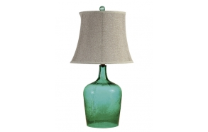 "27""H Glass Table Lamp w/ Linen Shade, Green,(3 Way, 100 Watt Bulb Maximum)"