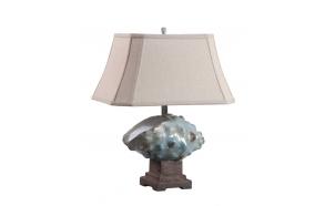 """18-1/2""""L x 23-1/2""""H Stoneware Shell Table Lamp w/ Shade, Aqua,  (100 Watt Bulb Maximum)"""