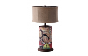 "24""H Iron Lamp w/ Girl Image & Burlap Shade, (Finish Will Vary, 40 Watt Bulb Maximum)"