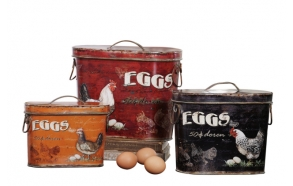 "12""L Tin Boxes w/ Rooster & Eggs, Set of 3"