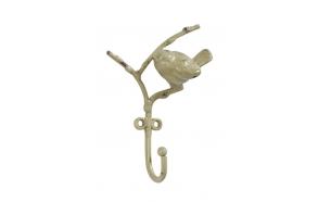 "5""H Metal Hook w/ Bird, Distressed Yellow"
