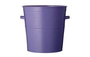 Bucket in zinc w/handle, purple