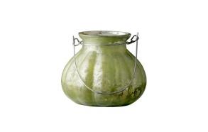 Vase w/handle, antique finish, dusty gre