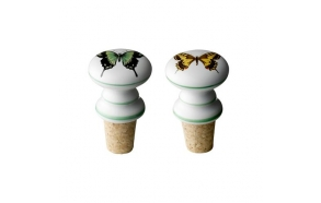 Bottle stopper, white w/yellow & green butterflies