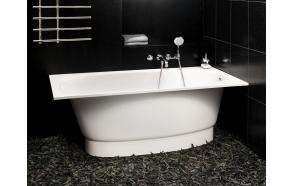 Cast stone bath UNO GRANDE, no decorative panel and siphon, 170x75 cm