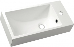 ARIANA Cast marble washbasin 50x10x25 cm, right, white