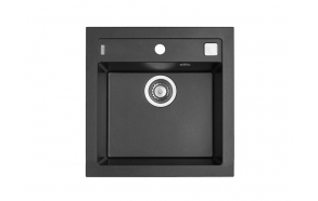 granite basin 52x51x20 cm, G91 black, automatic siphon