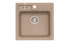 granite basin 46,5x46,5x18 cm, G55 beige, economy siphon