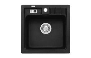 granite basin 46,5x46,5x18 cm, G91 black, economy siphon