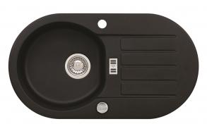 granite basin 78x43,5x16 cm, G91 black, automatic siphon