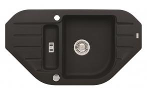 granite basin 90x50x16 cm, G91 black, automatic siphon