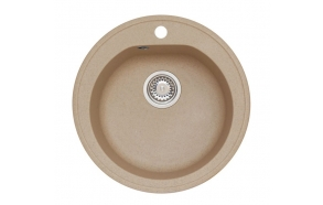 granite basin 51x51x17,5 cm, G55 beige, economy siphon