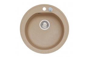granite basin 51x51x17,5 cm, G55 beige, automatic siphon
