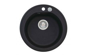 granite basin 51x51x17,5 cm, G91 black, automatic siphon