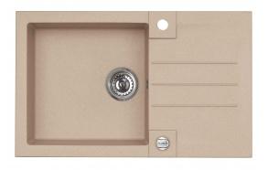 granite basin 78x48x18 cm, G55 beige, automatic siphon